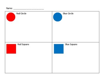 Shape Sort: 2 Features / 4-way Cut and Paste Sort / Sort by Color and Shape