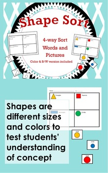 Shape Sort / 4-way Cut and Paste Sort / Color & B/W included