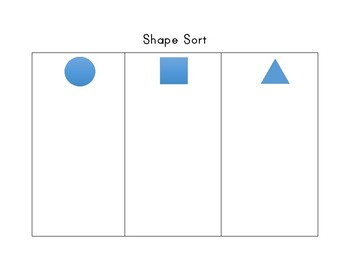 Shape Sort Cut and Paste Circle Square Triangle