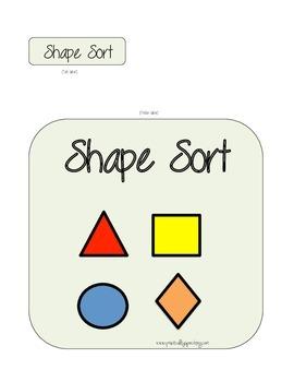 Shape Sort File Folder Game