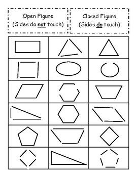 Shape Sort -- Open vs. Closed Figures