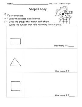 Shape Sorting Centers Pirate Theme 3 Centers with plans  C. Core K.MD.3 K.G.5