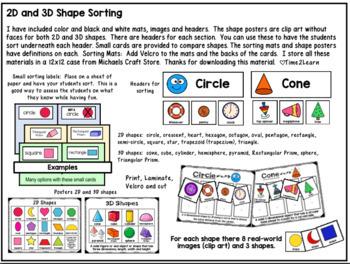 Shape Sorting Mats: 2D & 3D Shapes