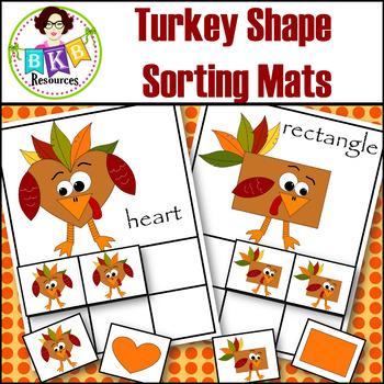 Shape Sorting ● Turkey Shape Sorting Mats ● Sorting Activities ● Math Centers