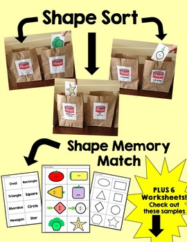 Shapes- Identification, Matching, Sorting and Patterns Bundle