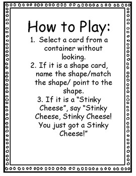 Shape Stinky Cheese Game