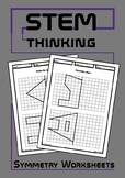 Shape Symmetry Drawing Worksheets, Elementary, Middle School Math