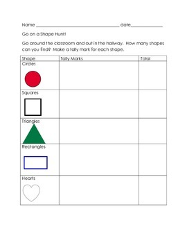Shape Tally Chart and Bar Graph