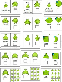 Shape Task Cards, Adapted Books, File Folder - Frogs