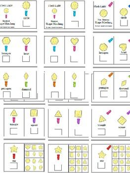 Shape Task Cards, Adapted Books, File Folder for Autism - Flash Lights