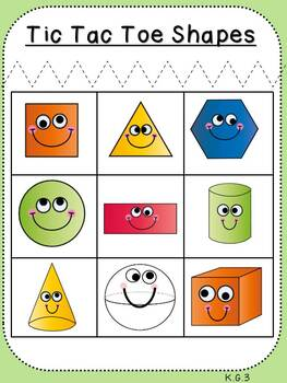 Shape Tic Tac Toe (Kindergarten Activity, K.G.3)