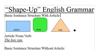 Shape Up English Grammar - Grammar for ESL, SPED, and Visual Learners