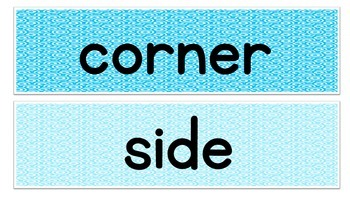 Shape Vocabulary Word Wall Flash Cards