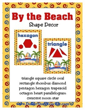Shape Wall Posters - By the Beach Ocean Island theme includes rhombus trapezoid