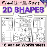 Shape Worksheets - Find Identify Sort First: Square, Triangle, Rectangle, Circle