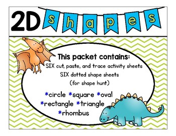 Shape-a-saurus  2D Shapes Fun Sheets (Dinosaur Theme)