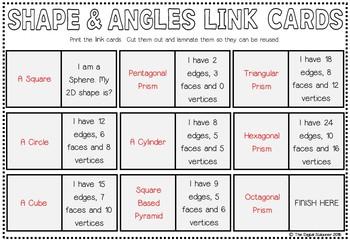Shape and Angle Link Cards - FREEBIE - Set of 27 cards