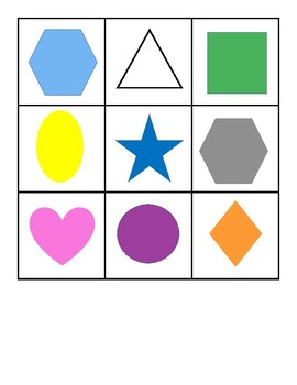 2D Shape and Color Bingo