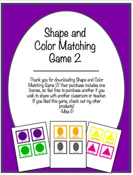 Shape and Color Matching Game 2
