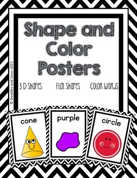 Shape and Color Posters - Black and White Chevron