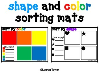 Shape and Color Sorting Mat Freebie