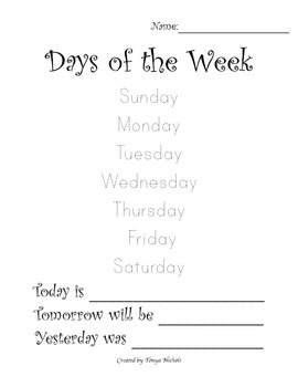 Days of the Week Trace