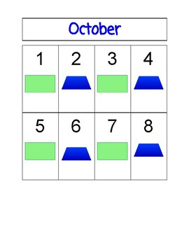 Shape and Pattern Calendar-October
