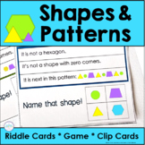 Shape and Pattern Riddle Task Cards for Kindergarten