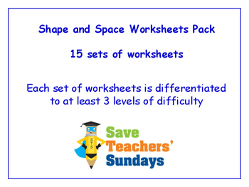 Shape and Space Worksheets Bundle / Pack (15 sets for 1st - 2nd grade)
