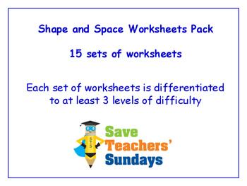 Shape and Space Worksheets Bundle / Pack (15 sets for 1st - 2nd grade)