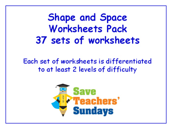 Shape and Space Worksheets Bundle/Pack (37 sets for 2nd-4th grade)