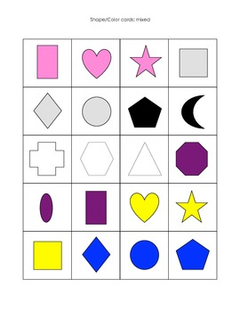 Shape and color sorting printable