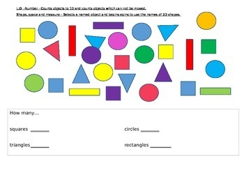 Shape counting and recognition sheet
