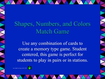 Shape, number, and color match game