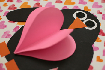 Shape penguin with 3D heart / Shape Unit / Valentines Day Craft