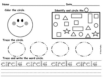 Shape recognition, tracing, and writing activity.