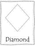 Shape tracing.  Trace the Diamond Shape.  Preschool printable curriculum.