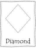 Shape tracing.  Trace the Diamond Shape.  Preschool printable curriculum.