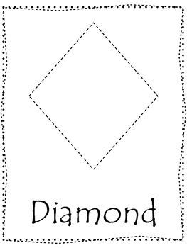 Shape tracing.  Trace the Diamond Shape.  Preschool printa