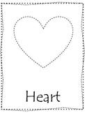 Shape tracing.  Trace the Heart Shape.  Preschool printable curriculum.