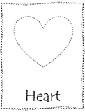Shape tracing.  Trace the Heart Shape.  Preschool printable curriculum.