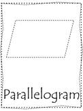 Shape tracing.  Trace the Parallelogram Shape.  Preschool printable curriculum.