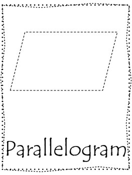 Shape tracing.  Trace the Parallelogram Shape.  Preschool printable curriculum.