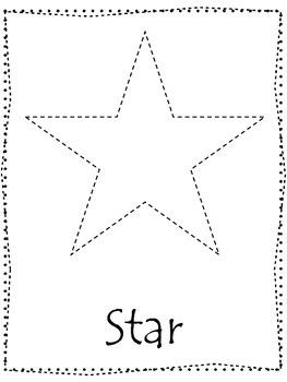 Shape tracing.  Trace the Star Shape.  Preschool printable curriculum.