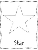 Shape tracing.  Trace the Star Shape.  Preschool printable curriculum.