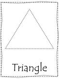 Shape tracing.  Trace the Triangle Shape.  Preschool printable curriculum.