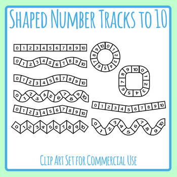 Shaped Number Tracks to 10 - Wobbly Lines and Shapes Clip Art Set