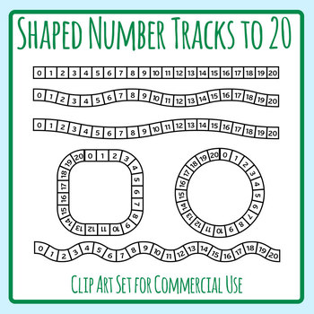 Shaped Number Tracks to 20 - Wobbly Lines and Shapes Clip Art Set