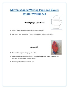 Shaped Writing Page and Cover (Mitten): Winter Writing Aid