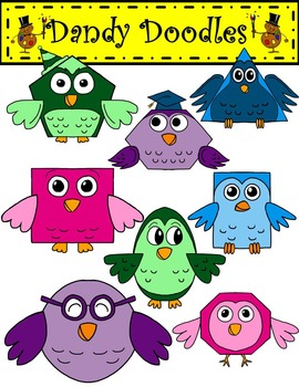 Shapely Owls Clip Art by Dandy Doodles
